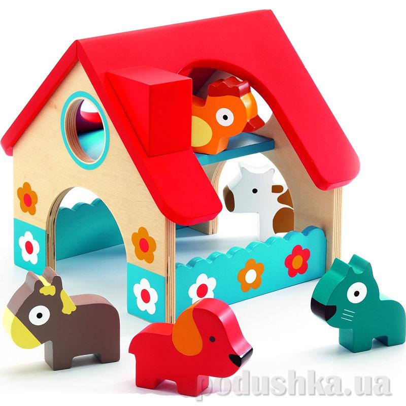 Деревянная игра мини Ферма 5 животных DJ06388 DJECO
