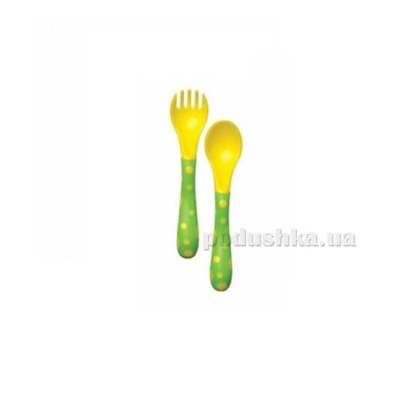 Десткий столовый набор Nuby зелено-желтый