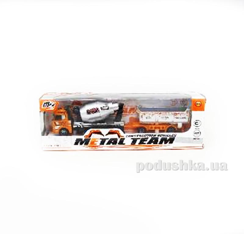 Детская бетономешалка с прицепом Die-Cast 480964TP Metal Team