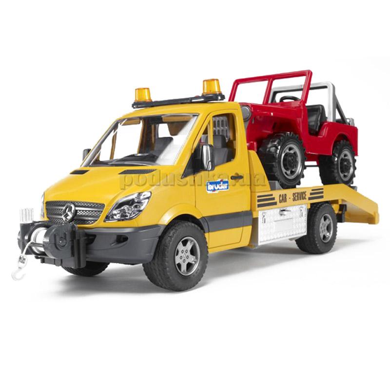 Детская игрушка эвакуатор MB Sprinter (свет+звук) + джип Bruder 02535