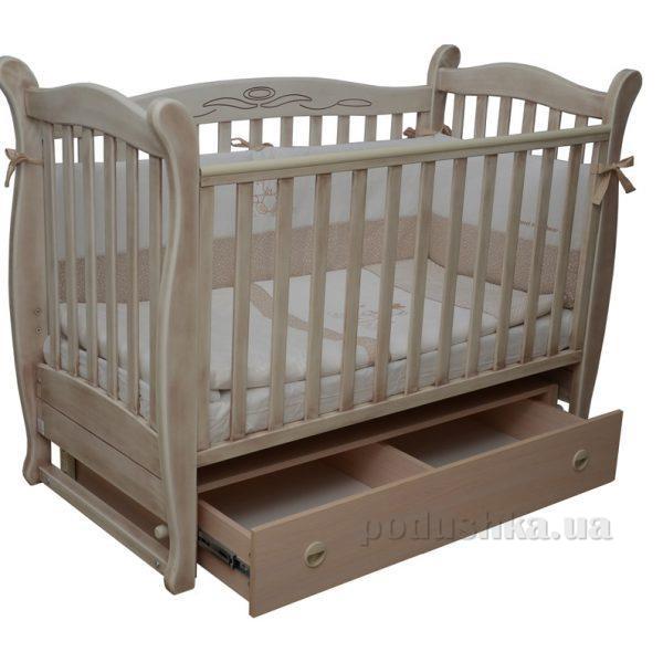 Детская кроватка Соня ЛД-15 полка, маятник 15.14 патина дуб молочный