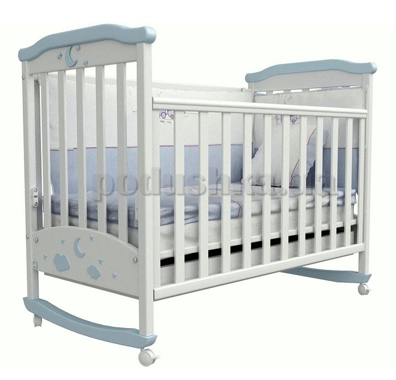 Детская кроватка Верес Соня ЛД2 бело-голубая аппликация