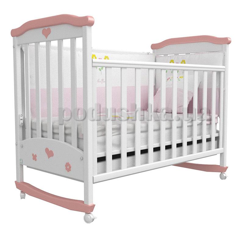 Детская кроватка Соня ЛД2 Верес бело-розовая аппликация