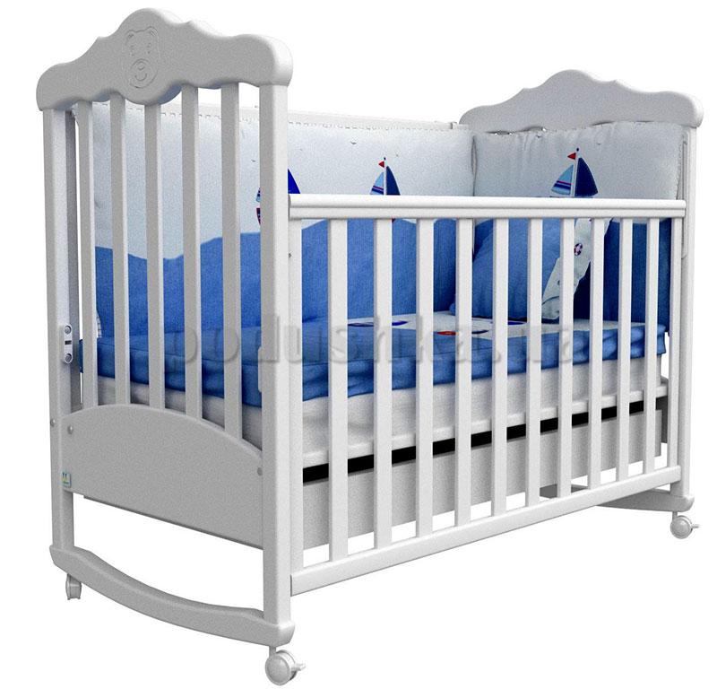Детская кроватка Верес Соня ЛД11 белая с резьбой Мишка