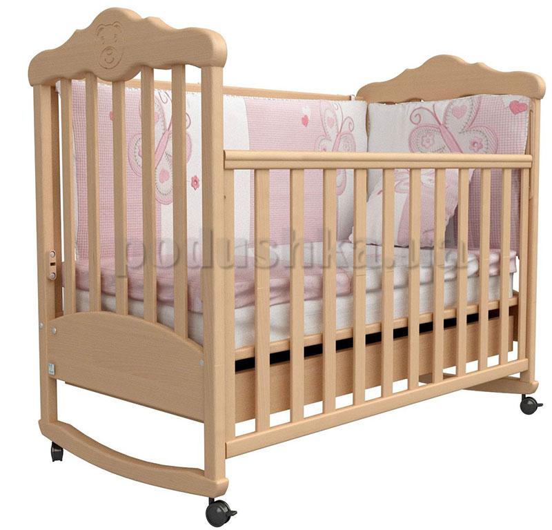 Детская кроватка Верес Соня ЛД11 бук с резьбой Мишка