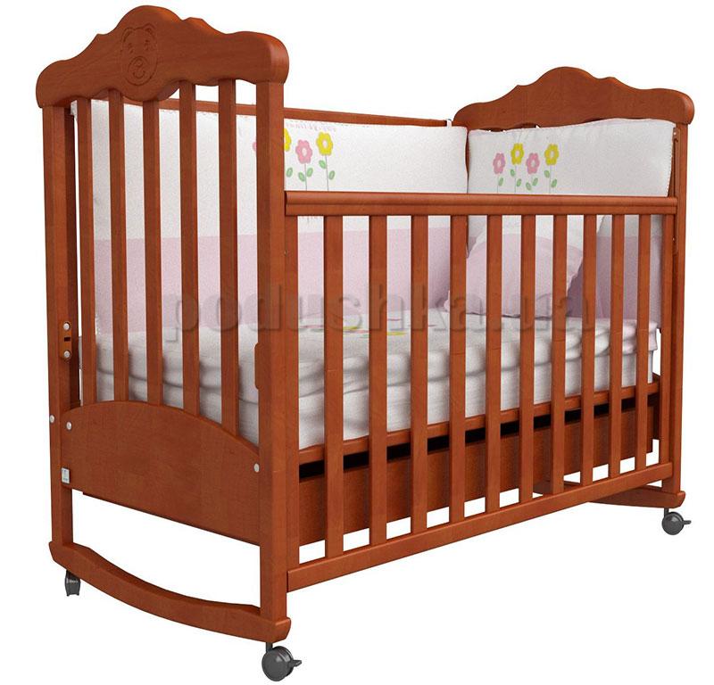 Детская кроватка Верес Соня ЛД11 ольха с резьбой Мишка