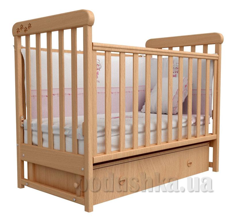 Детская кроватка Верес Соня ЛД12 бук маятник+ящик с резьбой Лапки
