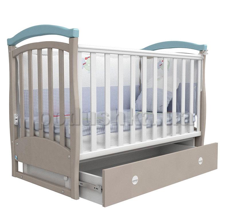 Детская кроватка Верес Соня ЛД6 капучино голубой маятник+ящик