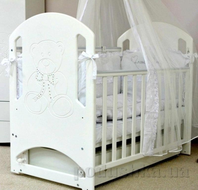 Детская кроватка Верес Соня ЛД8 маятник белая, мишка со стразами