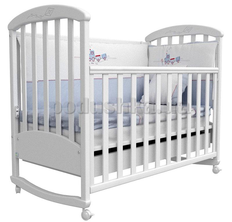 Детская кроватка Верес Соня ЛД9 белая с резьбой Воздушный змей