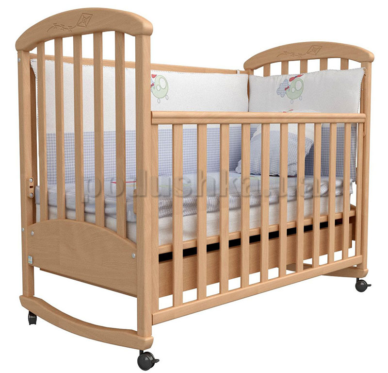 Детская кроватка Верес Соня ЛД9 бук с резьбой Воздушный змей