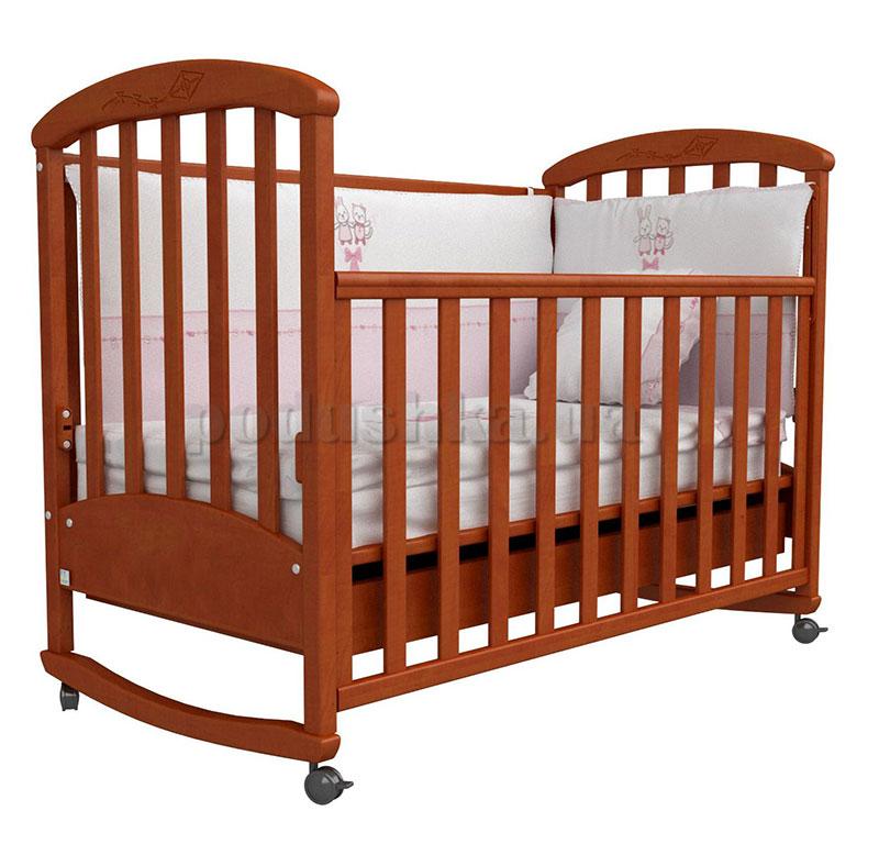 Детская кроватка Верес Соня ЛД9 ольха с резьбой Воздушный змей