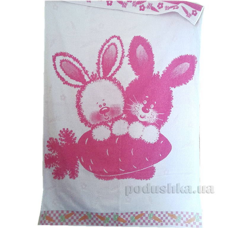 Детская махровая простынь Зайка Речицкий Текстиль розовая   Речицкий текстиль