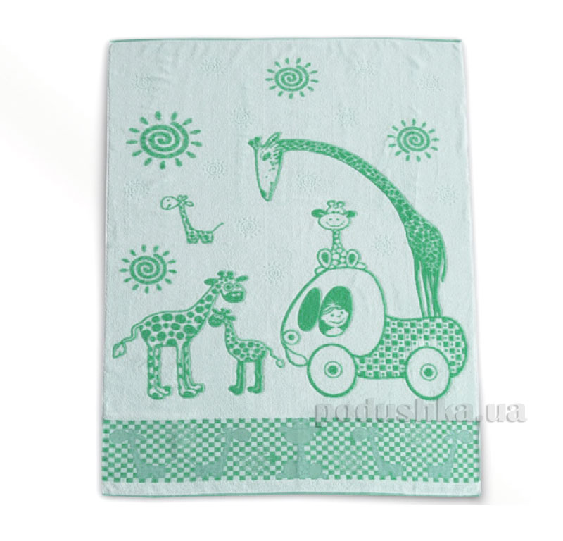 Детская махровая простынь Жирафик Речицкий Текстиль зеленая   Речицкий текстиль
