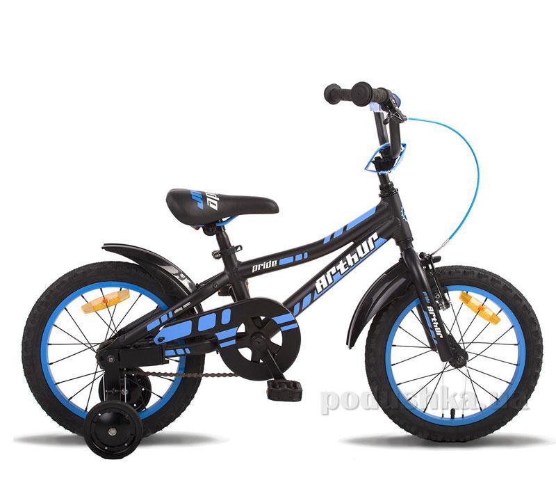 Детский велосипед Pride Arthur 2014 черно-синий матовый
