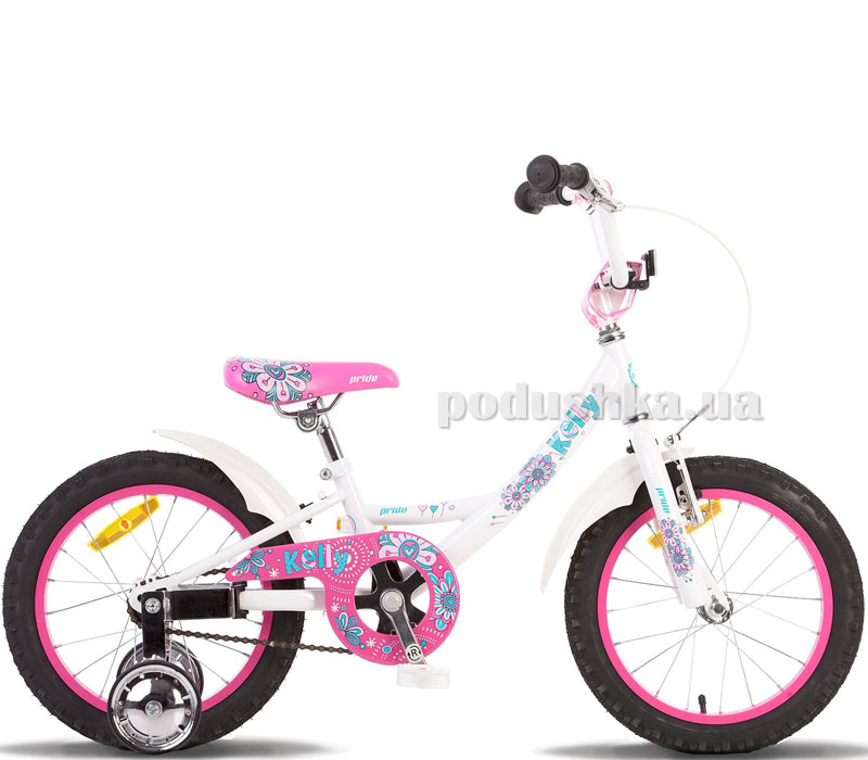 Детский велосипед Pride Kelly 2014 бело-розовый