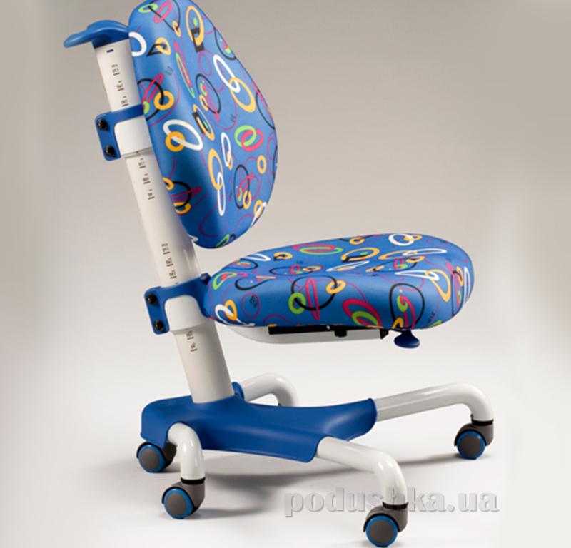 Детское кресло Mealux Y-517 WB белый металл обивка синяя с кольцами