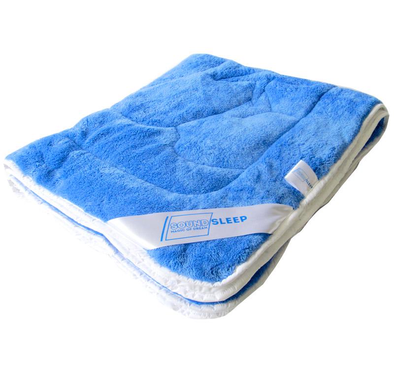 Детское махровое двусторонее одеяло Пандочка SoundSleep Cute синее с белым