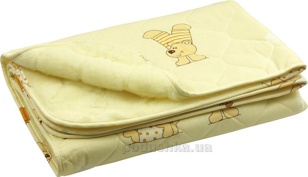 Детское одеяло Руно овчина-хлопок бежевое