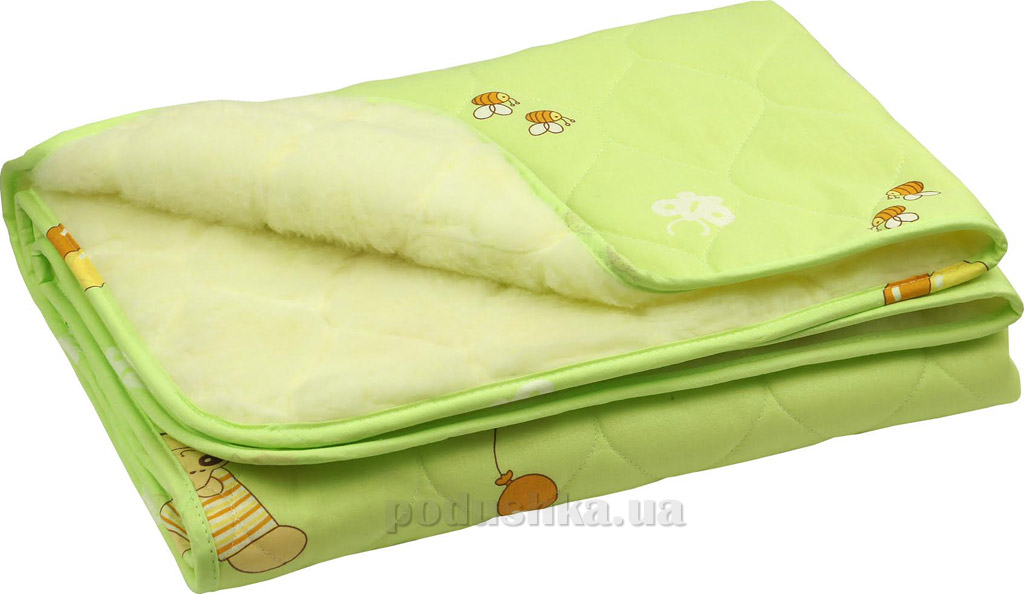 Детское одеяло Руно овчина-хлопок салатовое