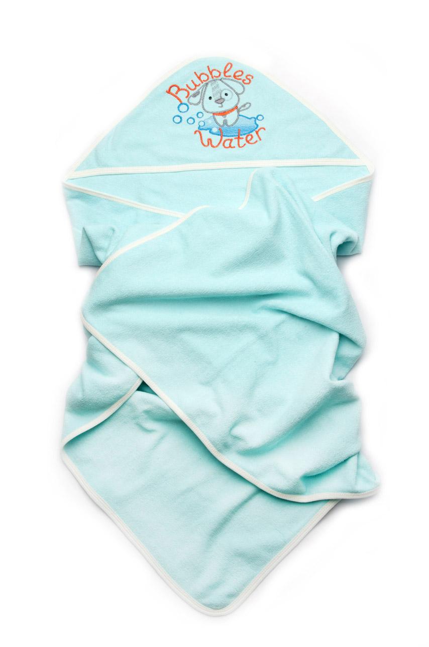 Детское полотенце для купания Модный карапуз бирюзовое 03-00582