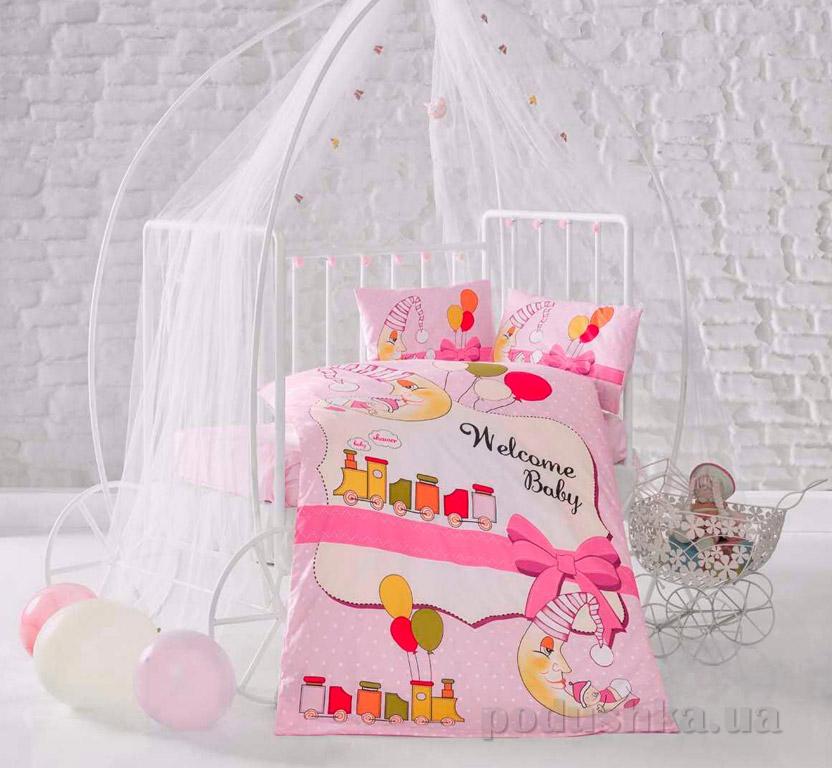 Детское постельное белье Aran Clasy Train розовое