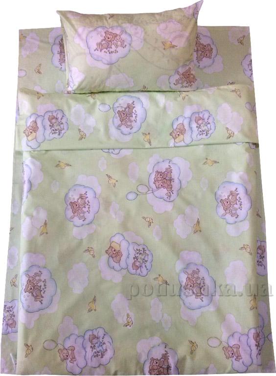 Детское постельное белье Билана Мишки на тучке салатовое