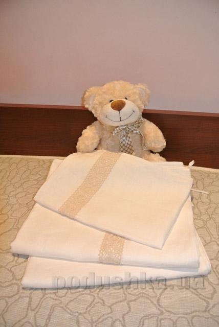 Детское постельное бельё Хэппи лен из выбеленого льна