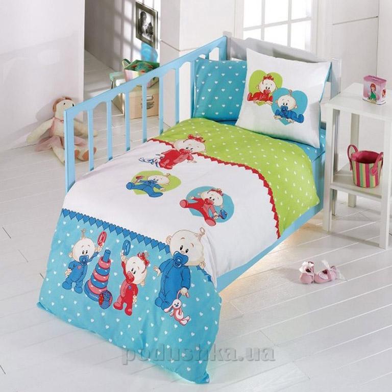 Детское постельное белье Kristal Bebis V05 голубое