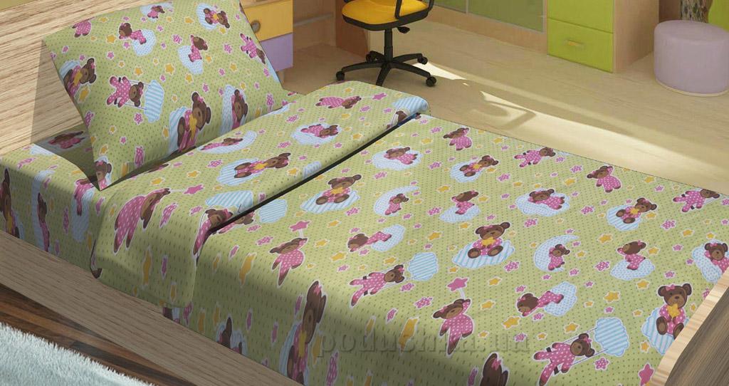 Детское постельное белье Lotus Bobi зеленое Детский комплект  Lotus