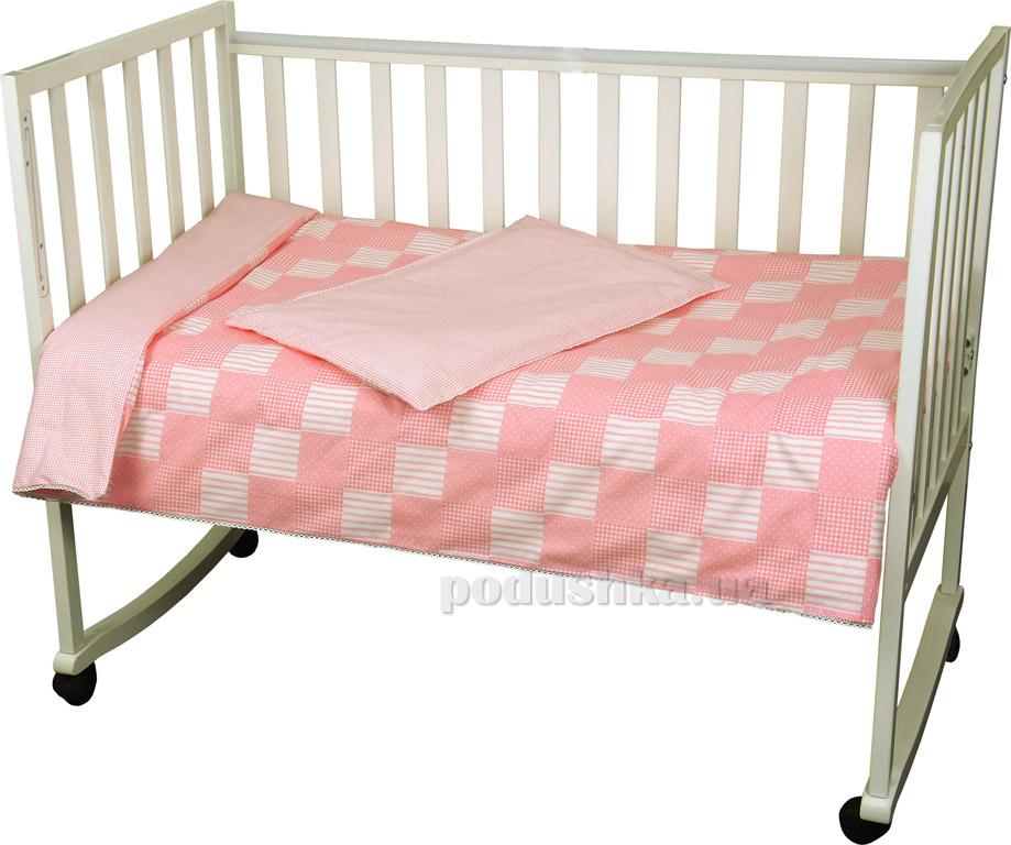 Детское постельное белье Руно Клеточка розовое Детский комплект  Руно