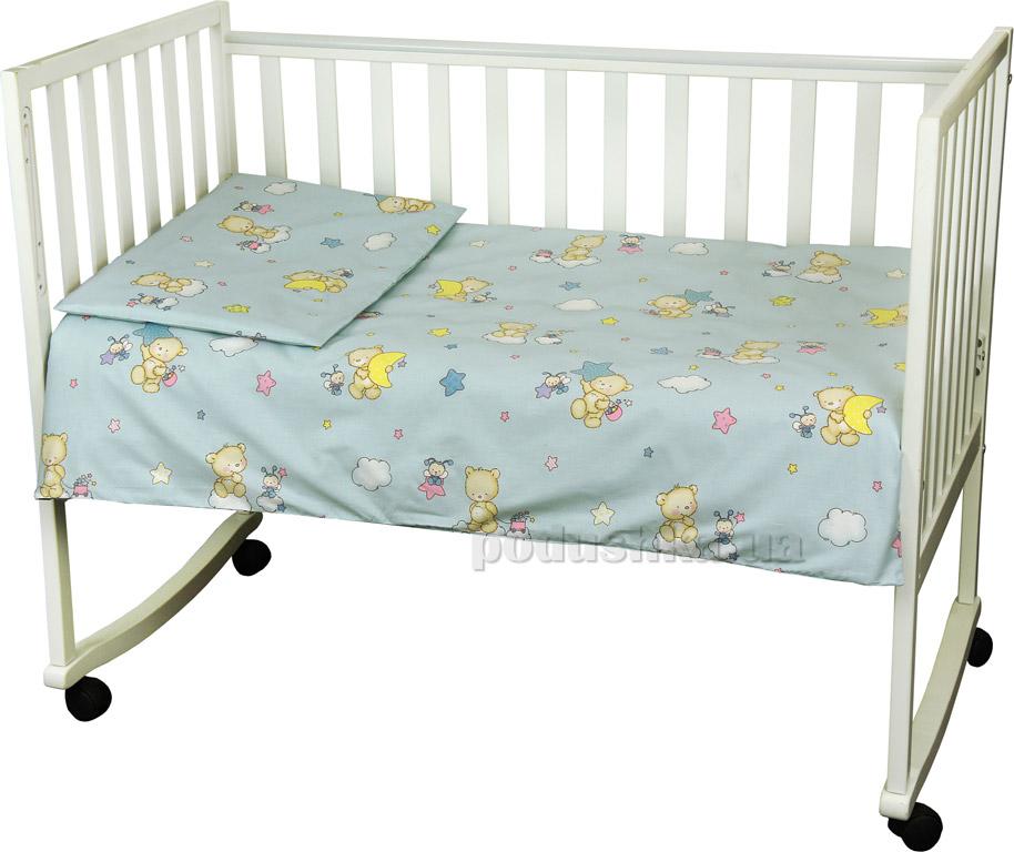 Детское постельное белье Руно Мишка-пузатик голубое Детский комплект  Руно