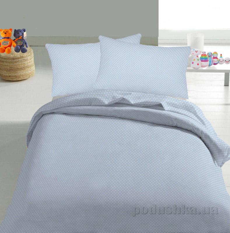 Детское постельное белье TM Nostra Бязь Rainforce бело-голубой горошек