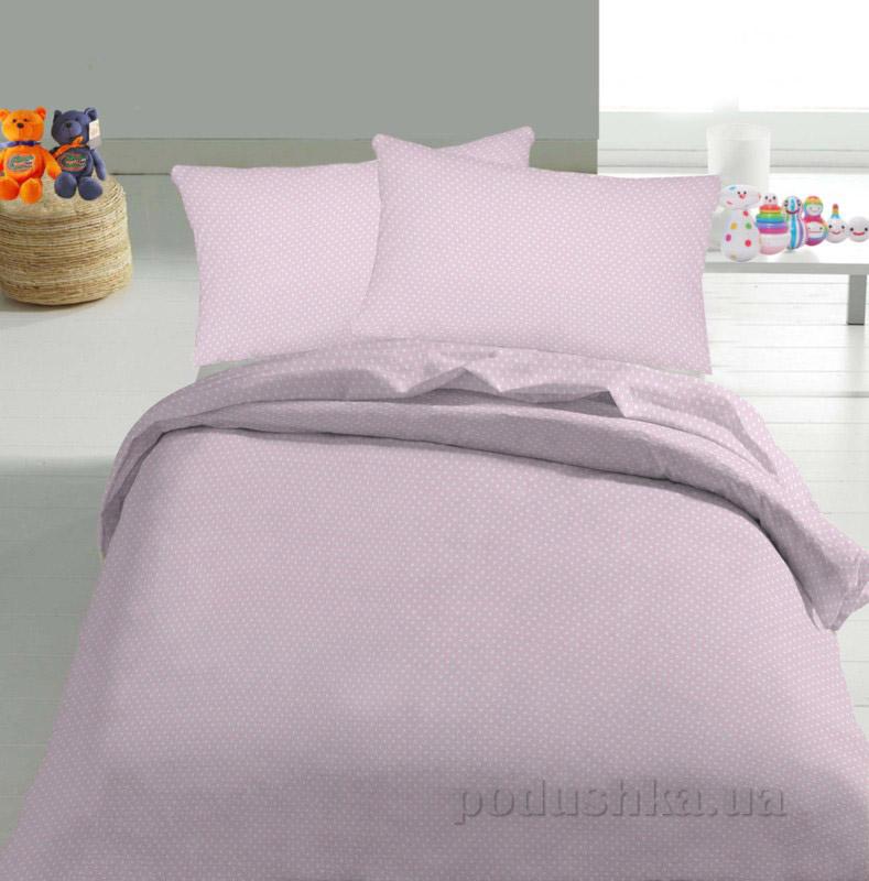 Детское постельное белье TM Nostra Бязь Rainforce бело-розовый горошек