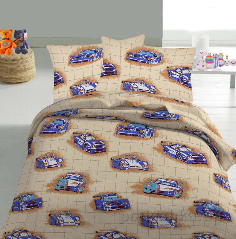 Детское постельное белье TM Nostra Бязь Rainforce бежево-синий машинки