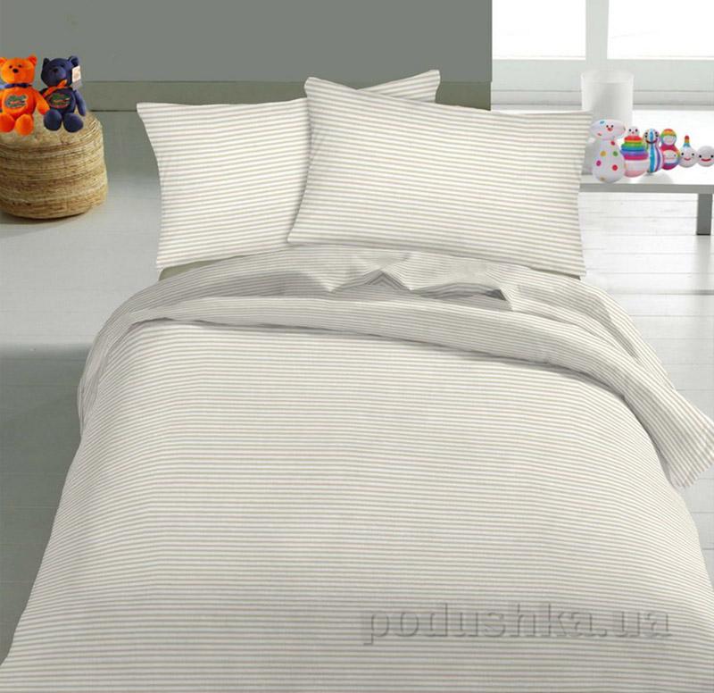 Детское постельное белье TM Nostra Бязь Rainforce бежевый мелкая полоска Полуторный комплект  TM Nostra