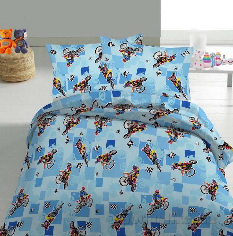 Детское постельное белье TM Nostra Бязь Rainforce голубой мотоциклы