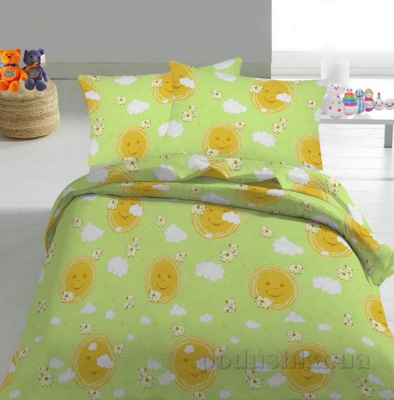 Детское постельное белье TM Nostra Бязь Rainforce салатово-желтый солнышко