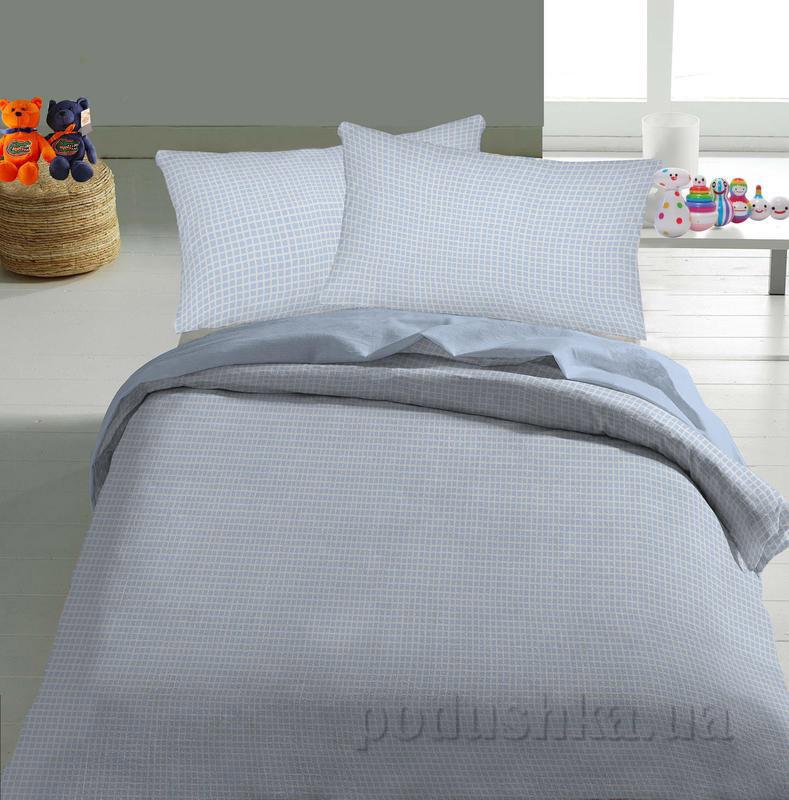 Детское постельное белье TM Nostra Бязь Rainforce светло-голубой клетка Полуторный комплект  TM Nostra