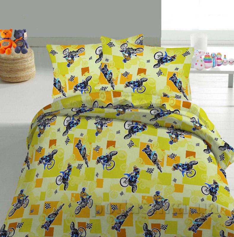 Детское постельное белье TM Nostra Бязь Rainforce желтый мотоциклы
