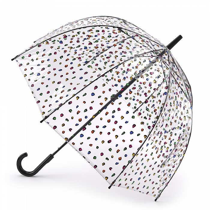 Женский зонт-трость прозрачный Fulton Birdcage-2 L042 Candy Leopard конфетный леопард