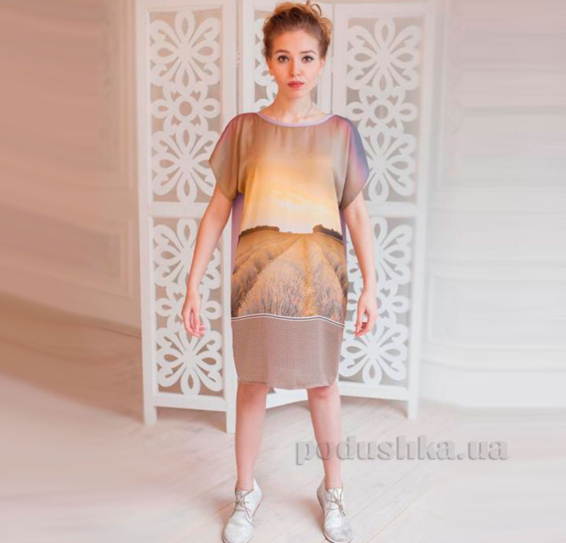 Домашнее платье Лаванда Godis бежевое