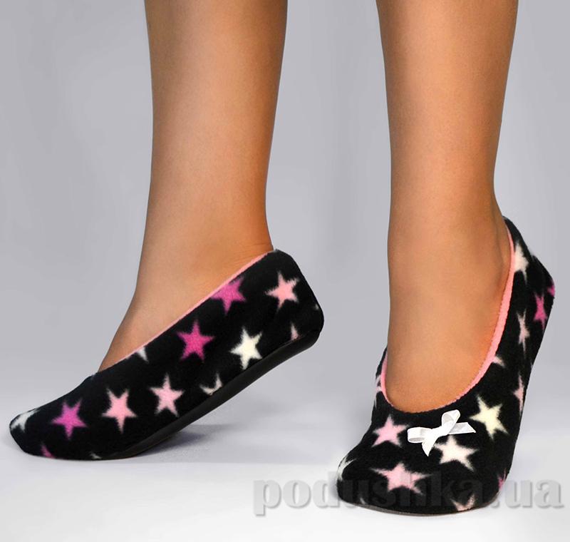 Домашние тапочки балетки Slivki Stars Black