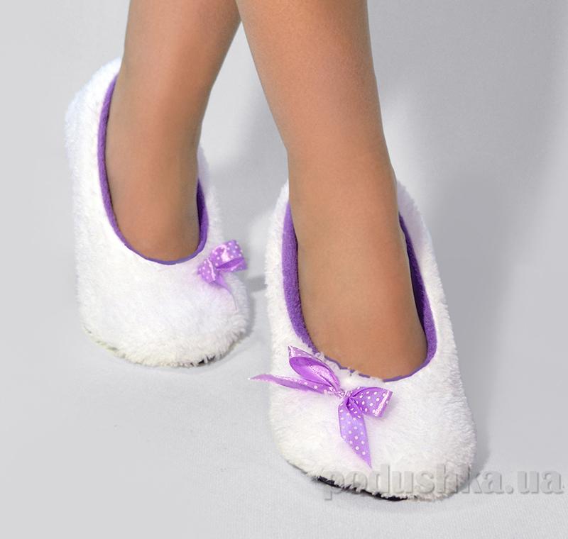 Домашние тапочки балетки Slivki White с фиолетовым бантиком