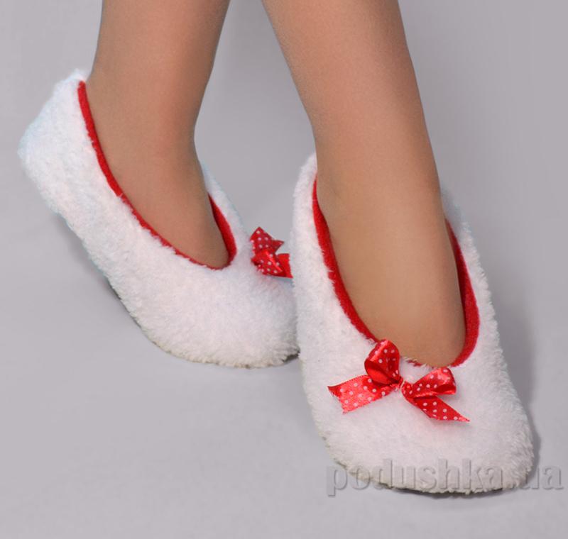Домашние тапочки балетки Slivki White с красным бантиком