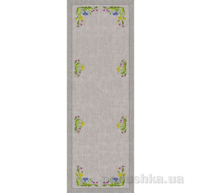 Дорожка Полевые цветы Гармония 12358 серый лен