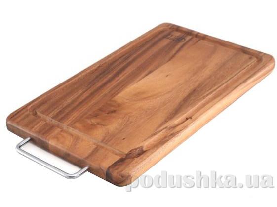 Доска разделочная MP прямоугольная темная с металлической ручкой с желобком Gipfel (бамбуковое дерево) 36x21x2 см