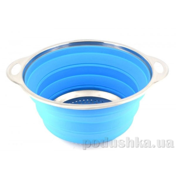 Дуршлаг складной Gipfel 24 см синий (силикон, нерж сталь)