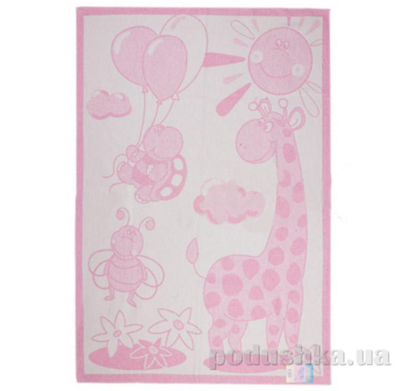 Двухстороннее одеяло Жираф Влади бело-розовое