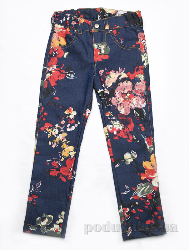 Джинсы для девочки с цветочным принтом Модный карапуз 03-00548